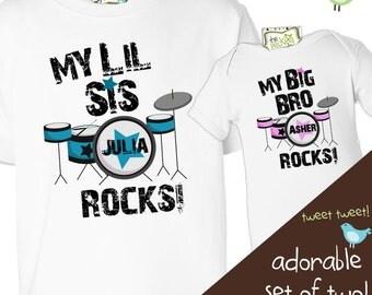 big brother little sister rockstar sibling shirt set