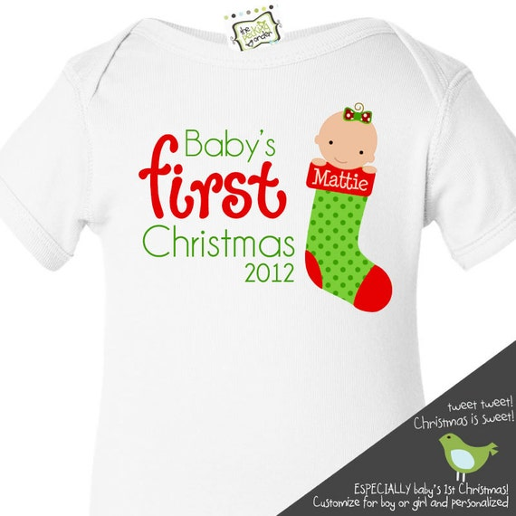 baby's first christmas personalized bodysuit (plain white) adorable for a new christmas baby or personalized new baby gift