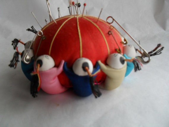 Vintage Oriental Satin Pin Cushion holder container