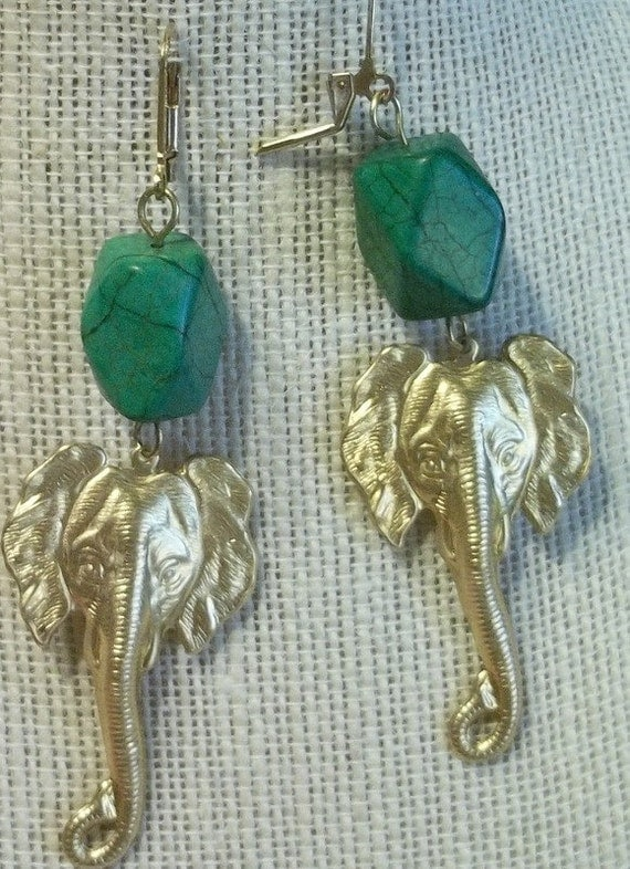 African Elephant Earrings with Turquoise Nuggets