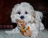 "Shih Tzu Cutie, custom Pet Portrait Oil Painting by puci, 18x24"""