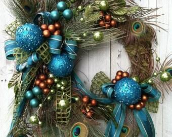 Christmas Wreath, Peacock Christmas Wreath, Teal Wreath for Christmas, Unique Christmas Wreath