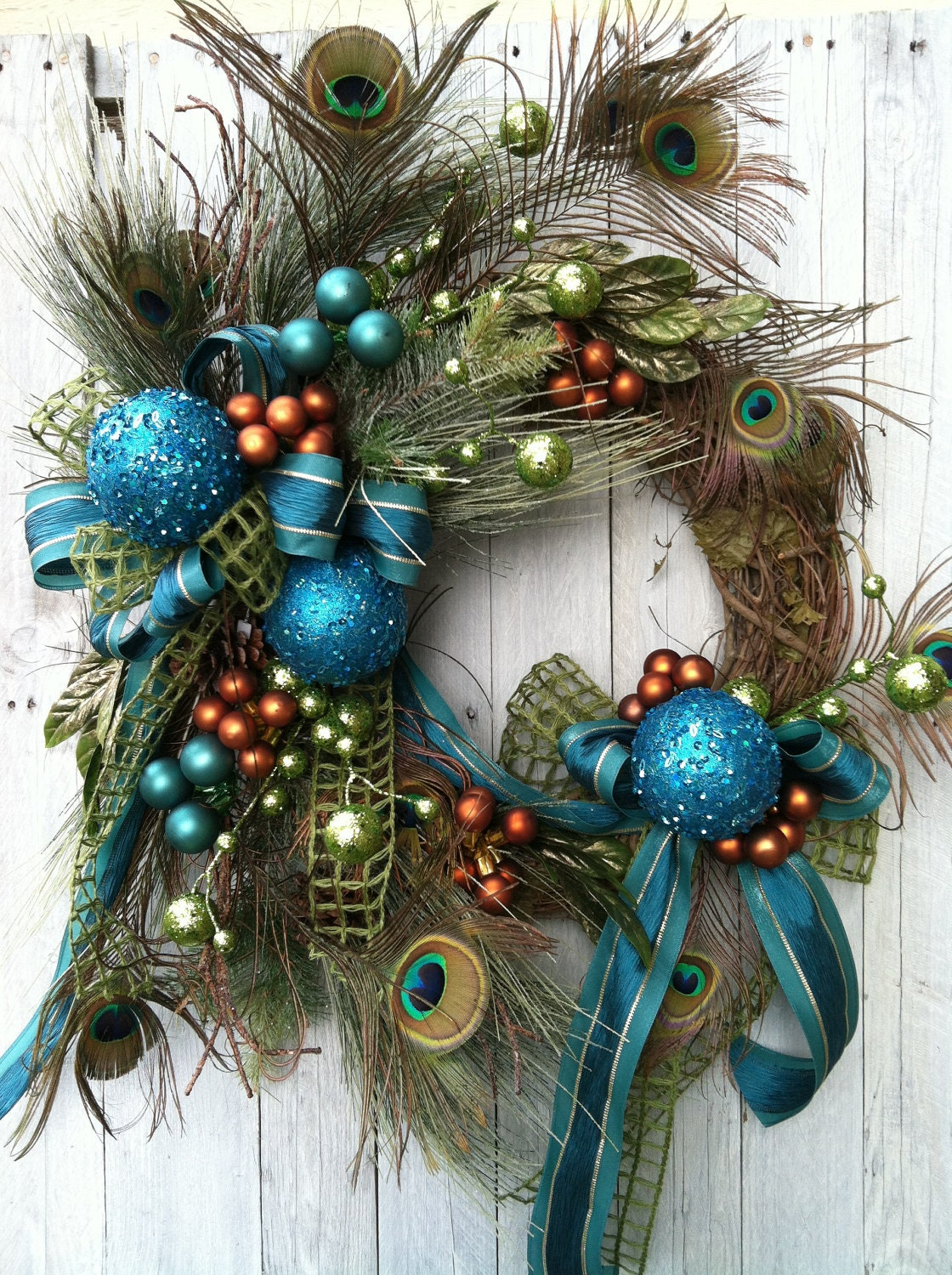 Christmas wreath peacock teal for