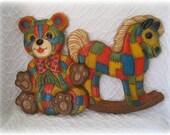Vintage Syrocco Nursery Wall Hanging Patchwork Syroco Rocking Horse Bear Decorative 2