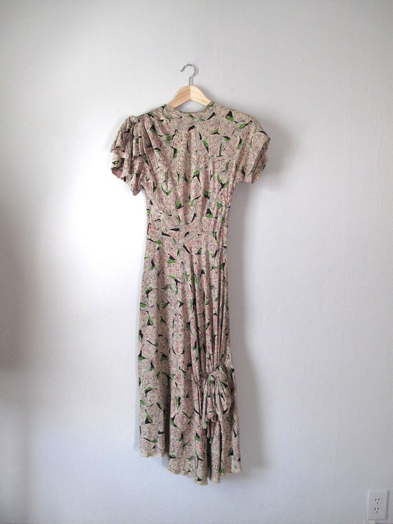 1940s Gown -- Rayon - Pink Green Black