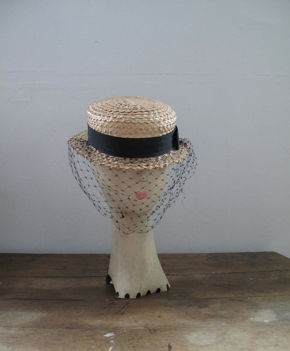 1940s Straw Hat - Boater Hat with Veil