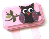 Hair Clip Holder- Owl with Pink Background
