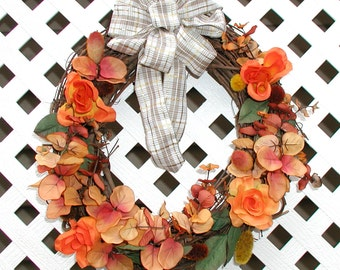 Orange Floral Wreath - Spring Wreath - Summer Wreath - Orange Wreath - Door Wreath - Front Door Wreath - Grapevine Wreath - Floral Wreath