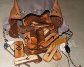 Willow rune set with drawstring leather pouch