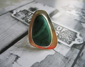 Vintage MALACHITE ARROWHEAD .925 Sterling Silver Ring