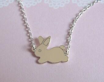 Silver Bunny Necklace, Rabbit Choker Chain