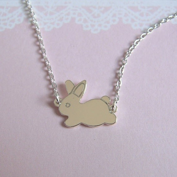 Silver Bunny Necklace, Rabbit Choker Chain