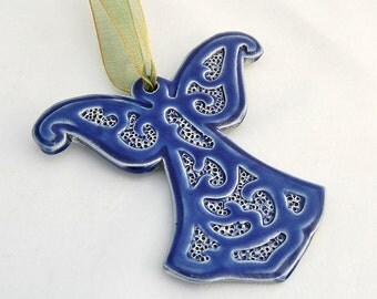 Angel Ornament in Royal Blue - Ceramic Stoneware Pottery