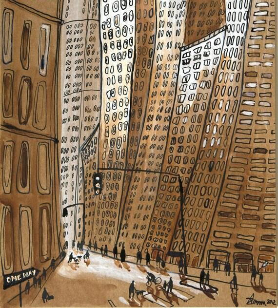 Midtown Manhattan - New York City Art, Cityscape, Street Art, Original illustration,cityscape, sepia, brown, gold, amber