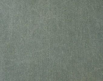Distressed Pigment Dyed COTTON Twill Denim Fabric HUNTER GREEN
