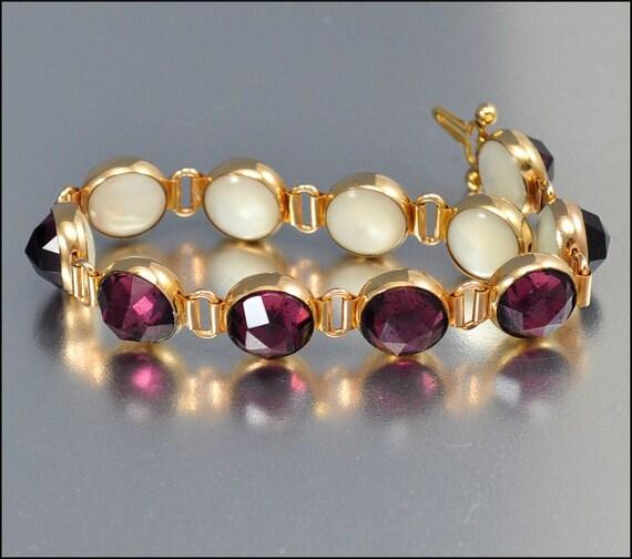 Vauxhall Glass Pearl Gold Bracelet Art Deco Jewelry Vintage Jewelry Amethyst Reversible 1915s
