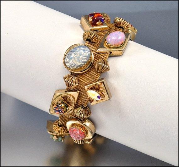 Victorian Charm Bracelet Dragon Breath Foil Glass Gold Mesh Slider Wide Revival Vintage 1950s Jewelry