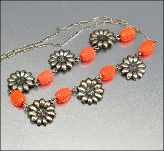 Art Deco Necklace Coral Glass Bead Silver Sunflower Snap 1930s Vintage Jewelry