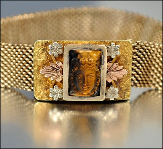 Gold Victorian Bracelet Gothic Cameo Mesh Tiger Eye Rose Gold Antique Jewelry