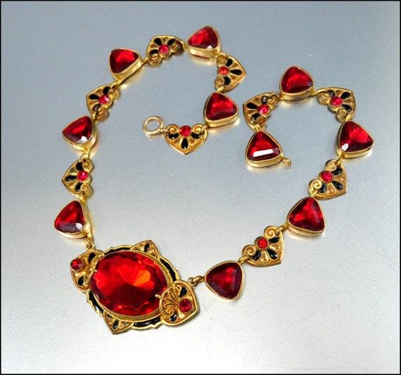 Reserved glass heart enamel czech art deco necklace art deco for Art deco costume jewelry