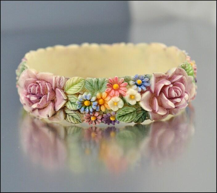 Ivory Hand Painted Jewelry Box