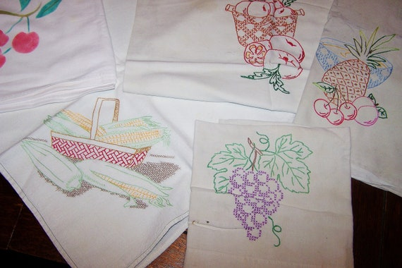price reduced  5  EMBROIDERED KITCHEN TOWELS, 1940s, 50's, All Cotton, Fruits, Veggies
