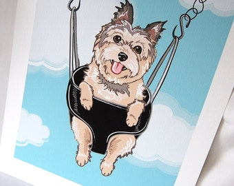 Swinging Cairn Terrier - Eco-friendly 7x9 Print