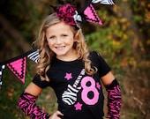 Birthday Girl Shirt, Birthday Shirt for Girls, Rock Star Birthday, Hot Pink and Zebra Print, Made To Order, Zebra Print Leg Warmers