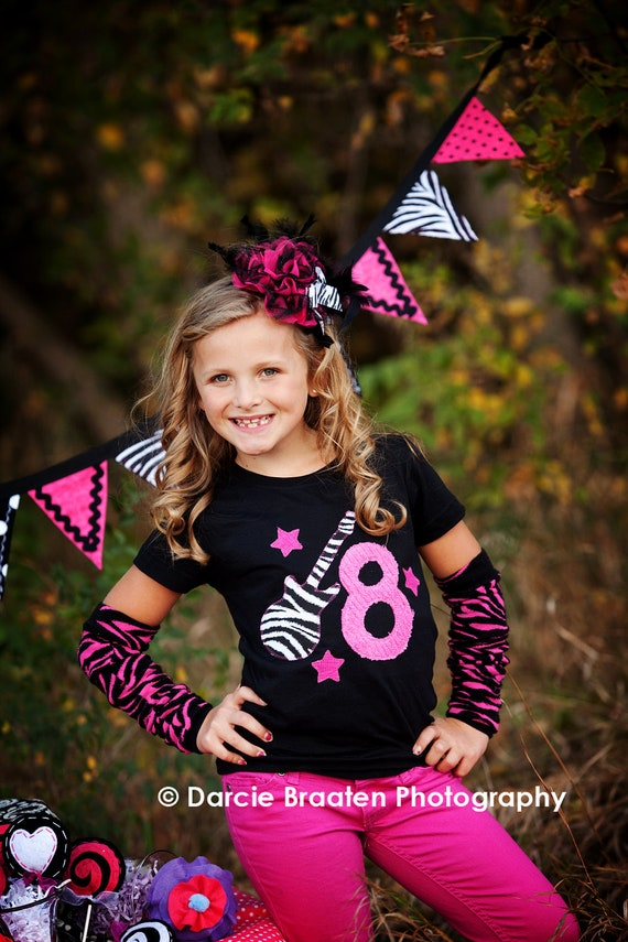 Birthday Girl Shirt, Birthday Shirt for Girls, Rock Star Birthday, Hot Pink and Zebra Print, Made To Order, Birthday Shirt
