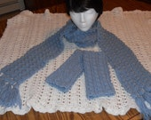Country Blue Crocheted Long Lacy Bobble Scarf and Wristlets Set