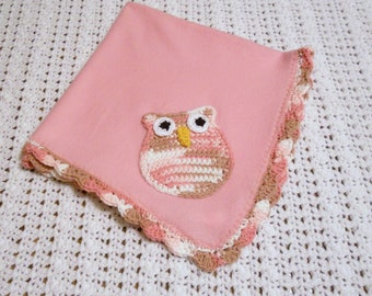 Owl Pink Baby Blanket