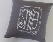 Pillow Cover - SMILE design- 16 x 16 inches by Sweetnature Designs - Choose your fabric and ink color