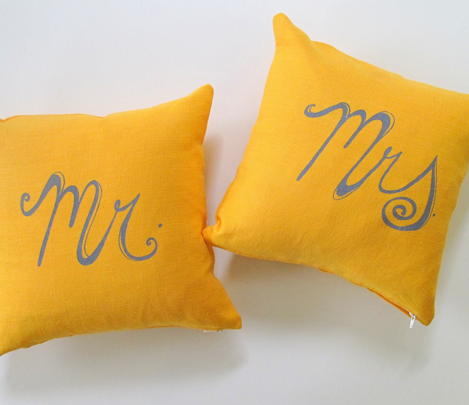Set of 2 Decorative Pillow Covers Mr. and Mrs. 12 x 12