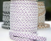 Bias Tape -  Lilac Gingham Cotton and Lace Double Fold