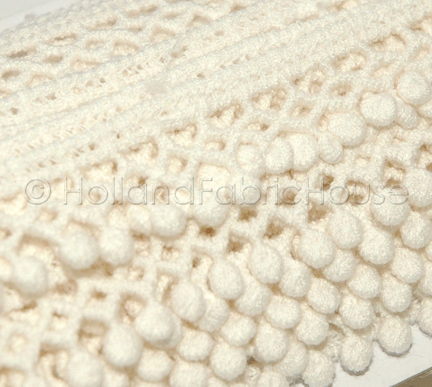Crochet edge mini pom pom trim in Cream 1 by HollandFabricHouse