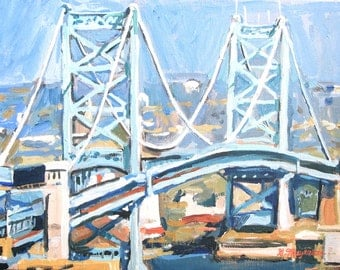 Philadelphia Art Painting, Philly Art, Benjamin Franklin Bridge, city of love Ben Franklin Print 8x10, bridge painting by Gwen Meyerson