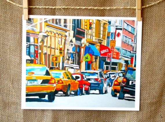 Yellow Taxi Cabs NYC Painting New York Art City Urban Print, Flow of Traffic, New York City Painting by Gwen Meyerson