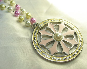 Compass ... beautiful epoxy pendant necklace in pink, cream and white with matching hand fashioned pearl chain