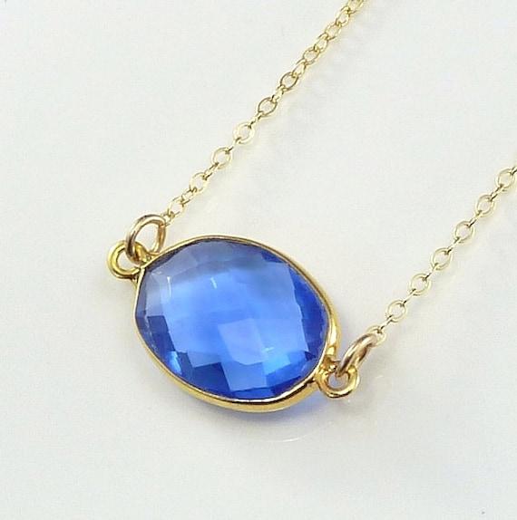 Kyanite Blue Quartz Necklace 14K Gold Filled Solitaire Gemstone Handmade Minimalistic Office Fashion