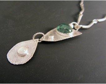 Sterling Silver Pendant and Necklace with 7.3 carat Tourmaline, Moonstone