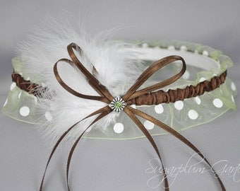 Wedding Garter in Chocolate Brown and Apple Green Polka Dot with Green Swarovski Crystal and Marabou Feathers