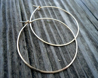 1.75 inch Medium Gold Hoop Earrings, Hammered Gold Filled Hoop Earrings, Gold Hoops, 14KT Gold Filled Hoop Earrings