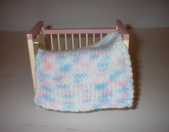 Hand Knit Miniature dollhouse baby doll blanket white pink and blue