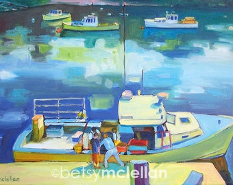 New Harbor, Maine Lobstermen 1 - Paper - Canvas - Wood Block - Giclee Print