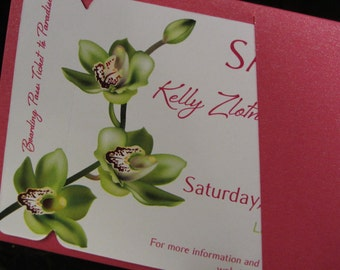 Boarding Pass Save The Date DEPOSIT: Green Orchid Design
