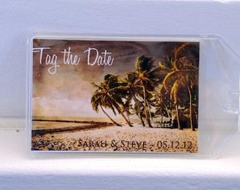 Tropical Beach Luggage Tag Save the Dates