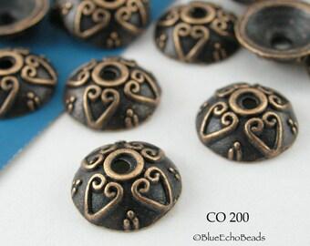 9mm Copper Bead Cap, Antiqued Copper (CO 200) 20 pcs BlueEchoBeads