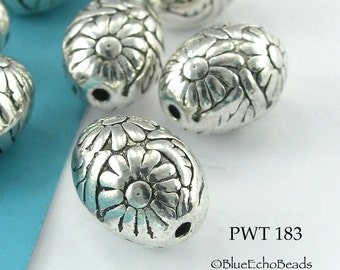 14mm Oval Flower Beads Pewter Beads Antique Silver (PWT 183) BlueEchoBeads 5 pcs