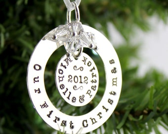 Our First Christmas hand stamped and personalized sterling silver ornament - New design for longer names