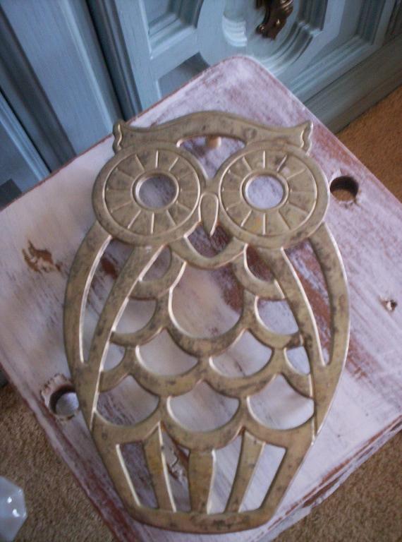 Large Brass Owl Trivet
